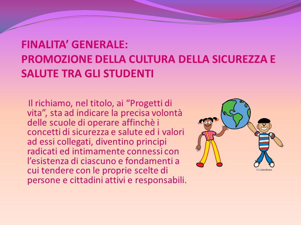 FINALITA' GENERALE: PROMOZIONE DELLA CULTURA DELLA SICUREZZA E SALUTE TRA GLI STUDENTI