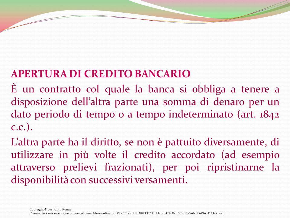 APERTURA DI CREDITO BANCARIO