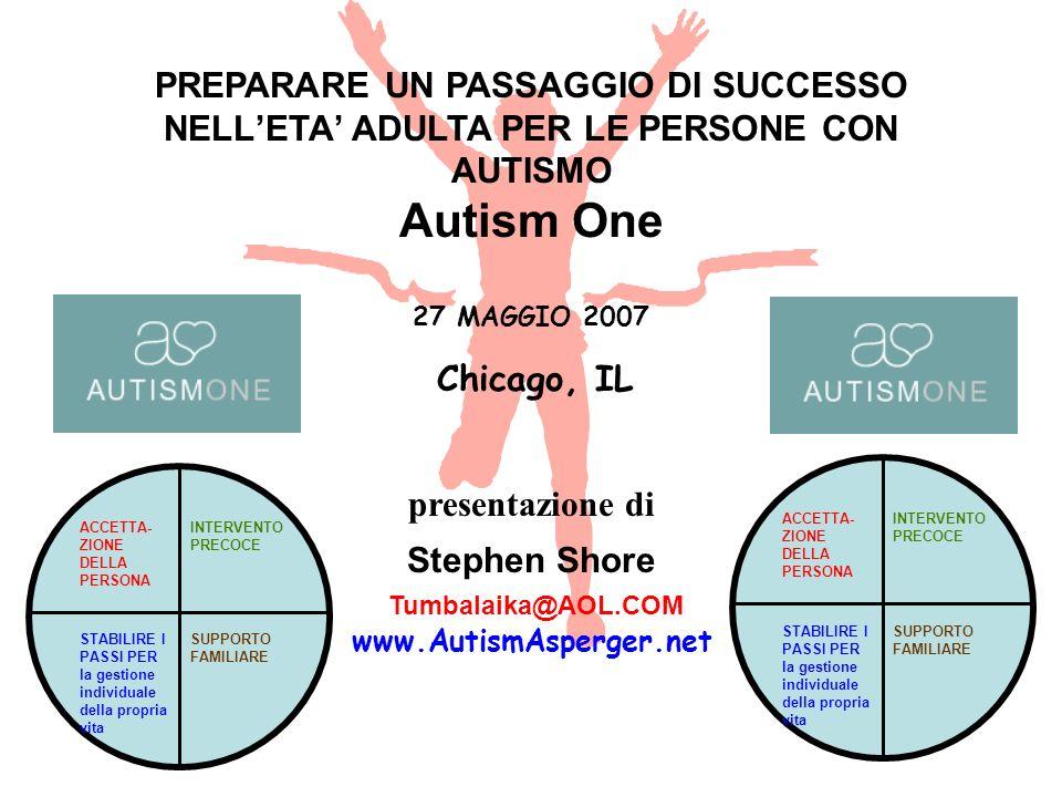 PREPARARE UN PASSAGGIO DI SUCCESSO NELL'ETA' ADULTA PER LE PERSONE CON AUTISMO Autism One 27 MAGGIO 2007 Chicago, IL presentazione di Stephen Shore Tumbalaika@AOL.COM www.AutismAsperger.net