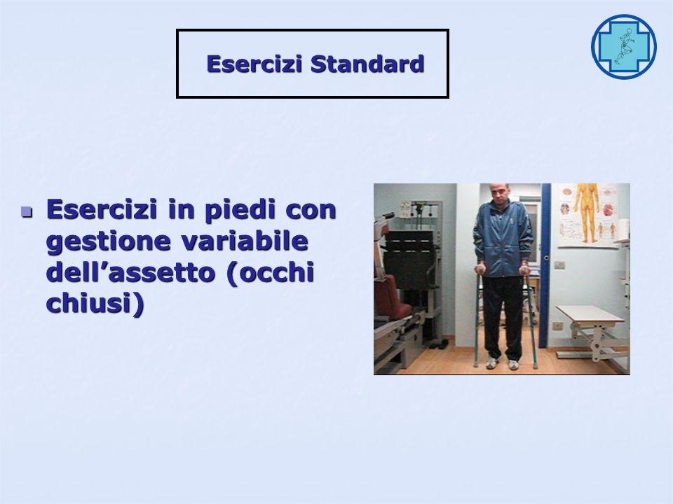 Esercizi in piedi con gestione variabile dell'assetto (occhi chiusi)