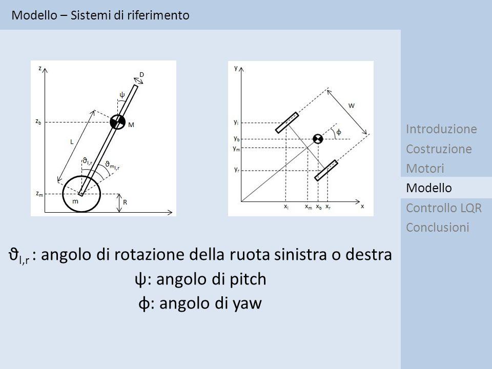 ϑl,r : angolo di rotazione della ruota sinistra o destra
