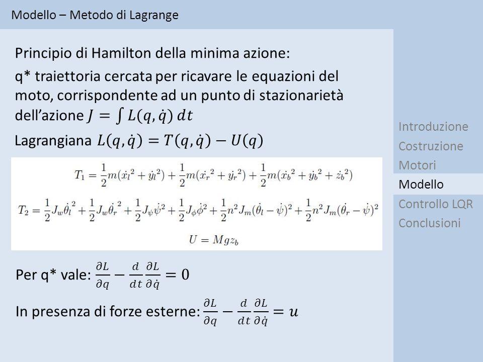 Lagrangiana 𝐿 𝑞, 𝑞 =𝑇 𝑞, 𝑞 −𝑈 𝑞