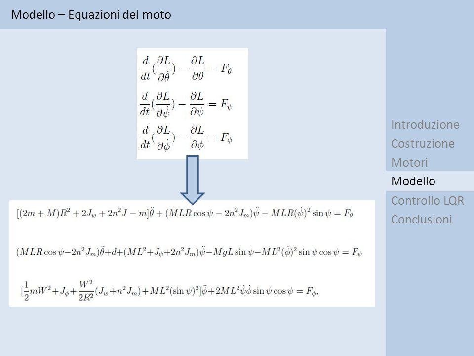 Modello – Equazioni del moto