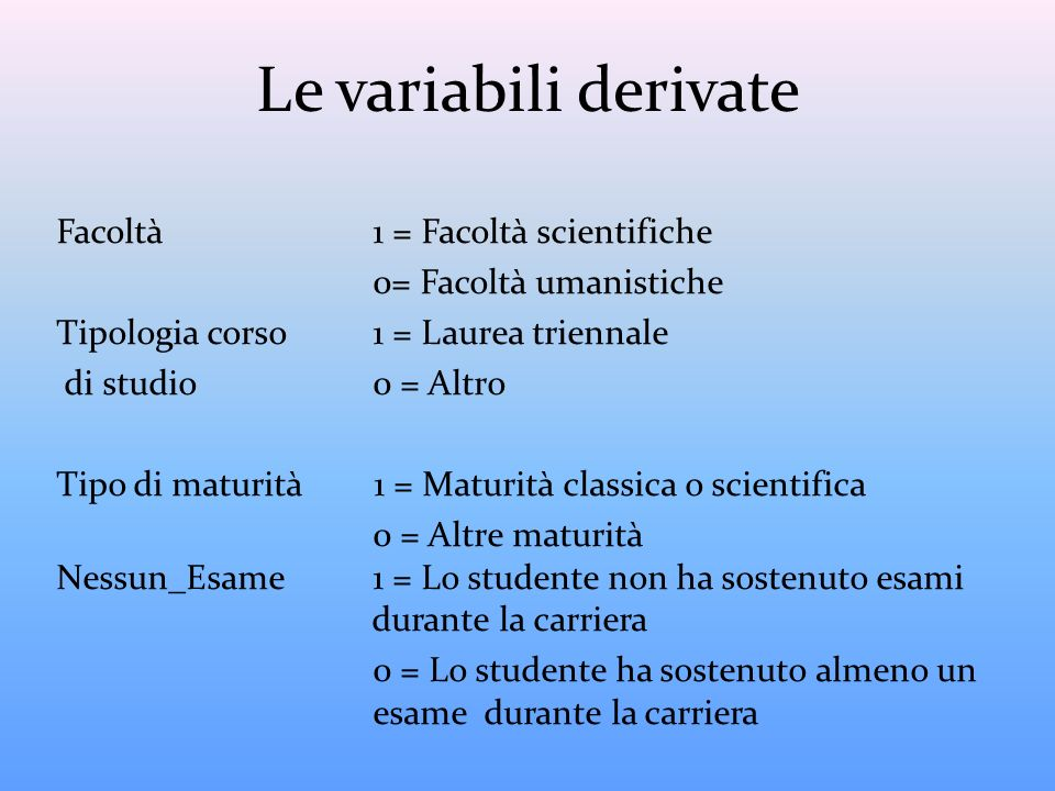 Le variabili derivate