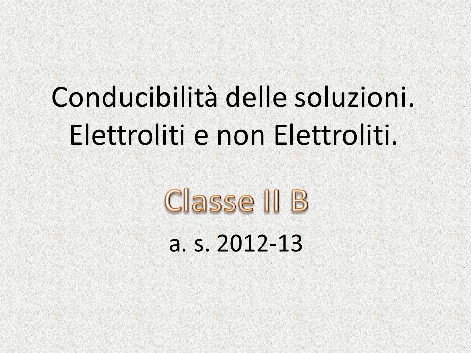 Conducibilità delle soluzioni. Elettroliti e non Elettroliti.