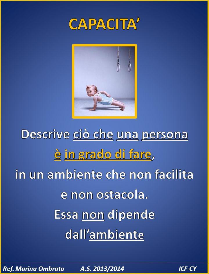 CAPACITA' Descrive ciò che una persona è in grado di fare, in un ambiente che non facilita e non ostacola. Essa non dipende dall'ambiente
