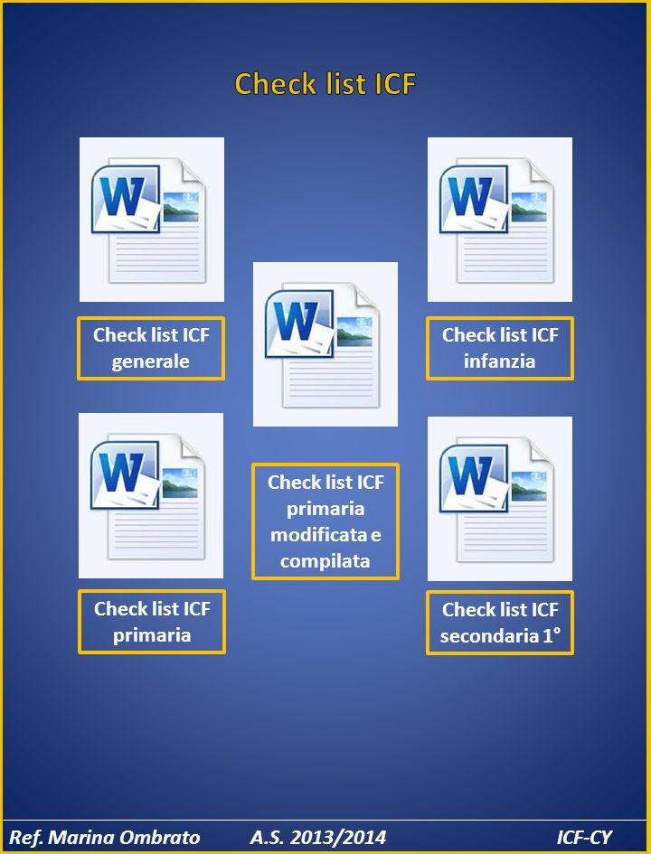 Check list ICF Check list ICF generale Check list ICF infanzia