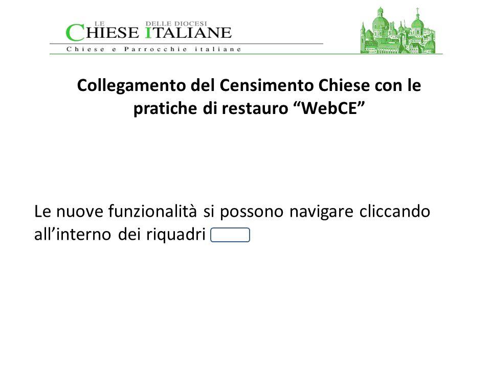 Collegamento del Censimento Chiese con le pratiche di restauro WebCE