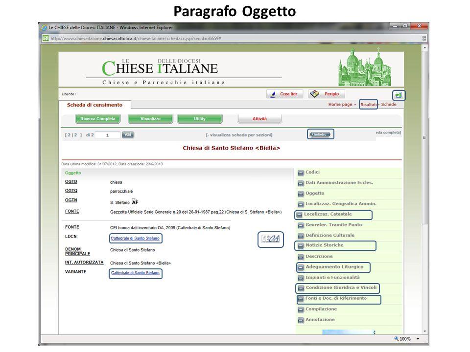 Paragrafo Oggetto