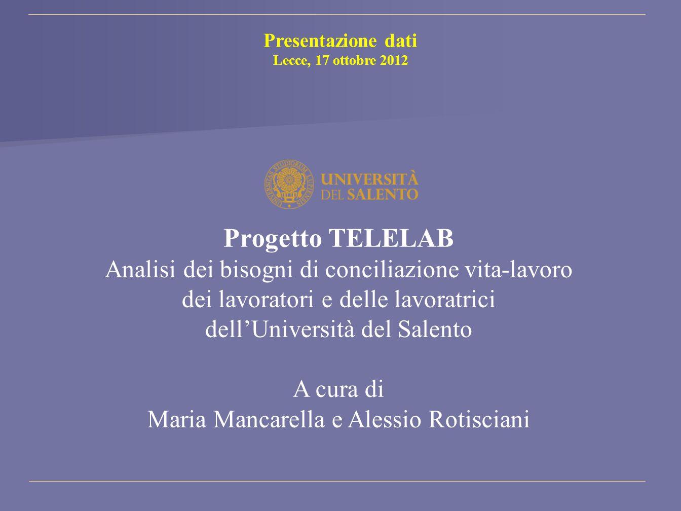 Progetto TELELAB Analisi dei bisogni di conciliazione vita-lavoro