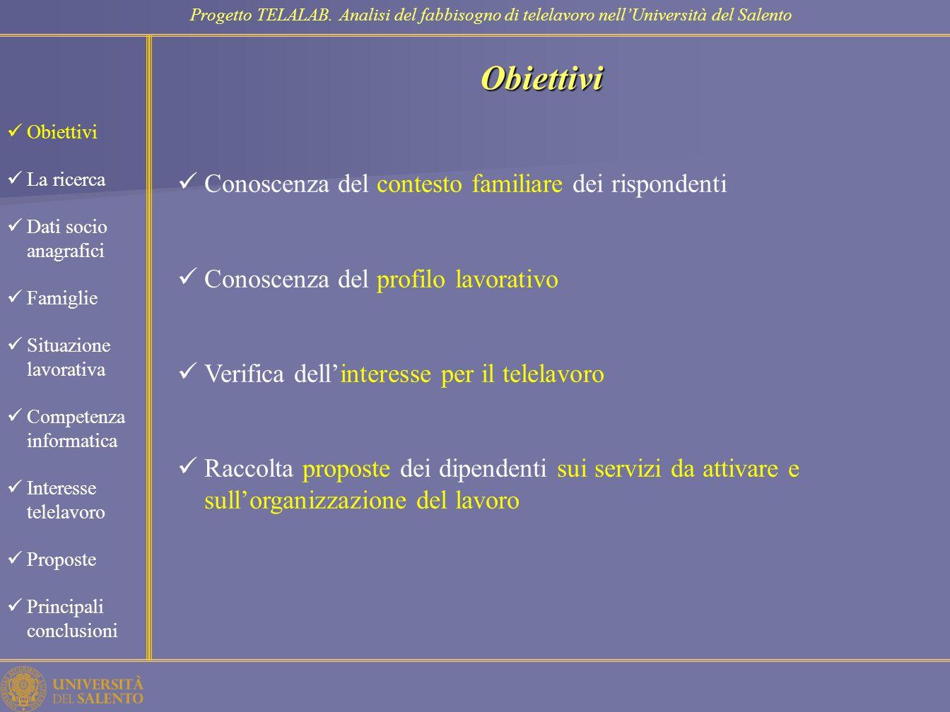 Obiettivi Conoscenza del contesto familiare dei rispondenti