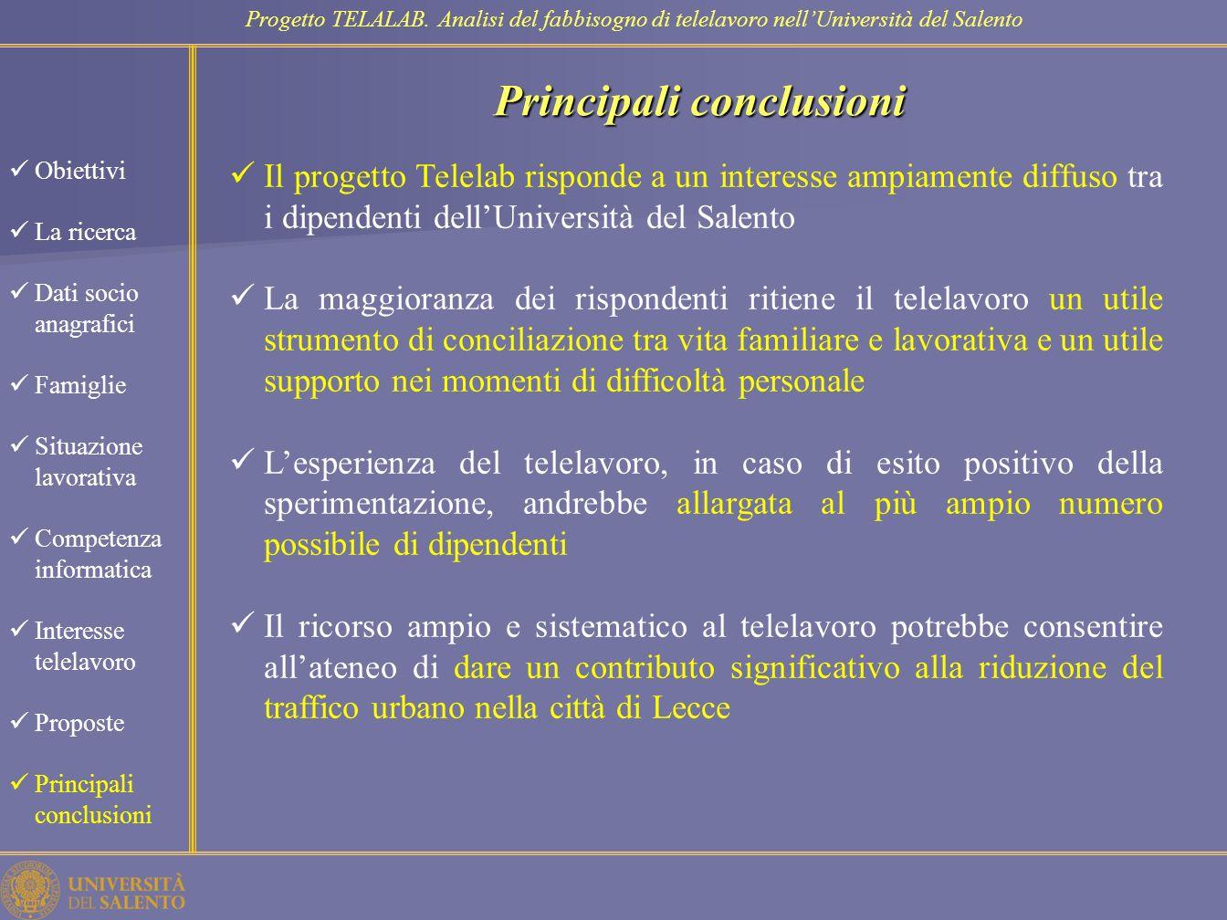 Principali conclusioni
