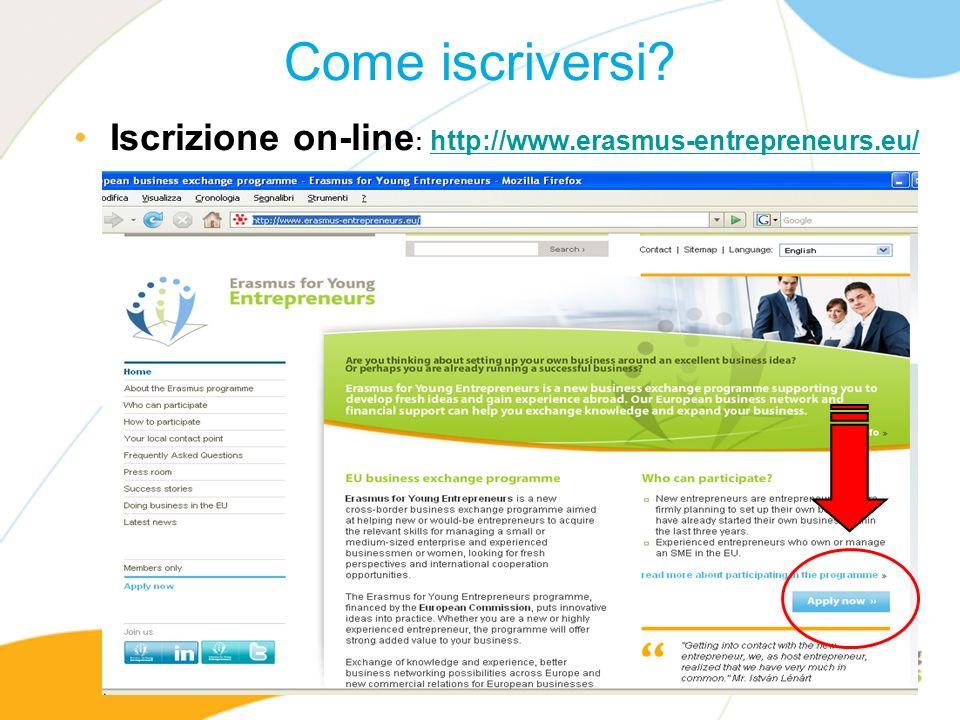 Come iscriversi Iscrizione on-line: http://www.erasmus-entrepreneurs.eu/