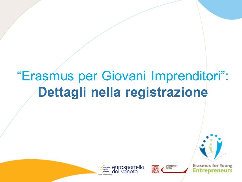 Erasmus per Giovani Imprenditori : Dettagli nella registrazione