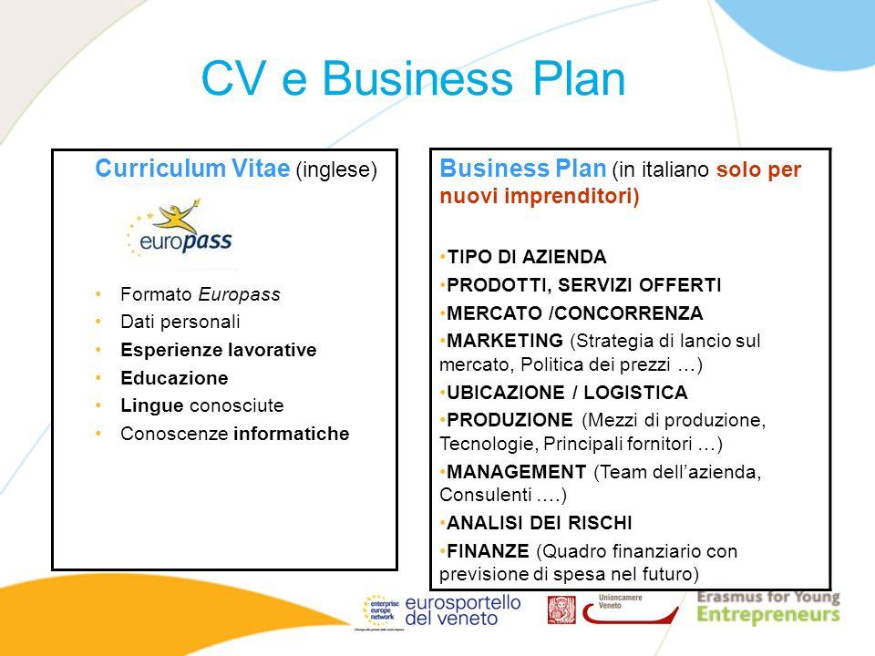 CV e Business Plan Curriculum Vitae (inglese) Formato Europass. Dati personali. Esperienze lavorative.
