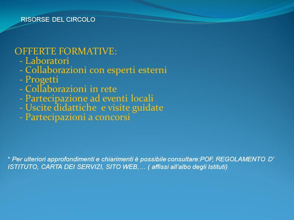 OFFERTE FORMATIVE: - Laboratori - Collaborazioni con esperti esterni