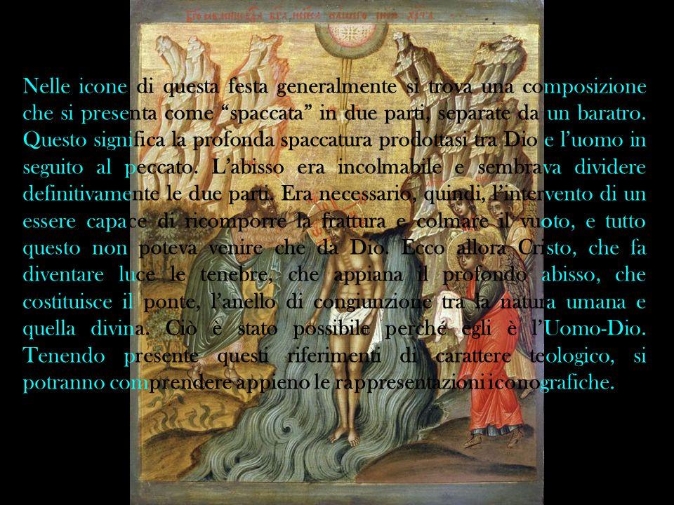 Nelle icone di questa festa generalmente si trova una composizione che si presenta come spaccata in due parti, separate da un baratro.