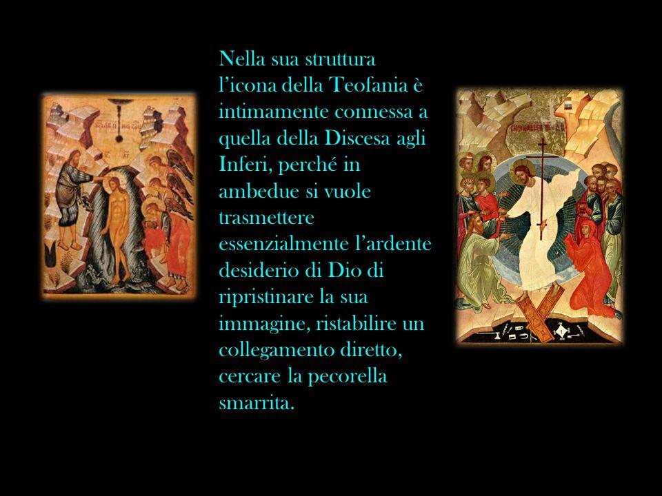Nella sua struttura l'icona della Teofania è intimamente connessa a quella della Discesa agli Inferi, perché in ambedue si vuole trasmettere essenzialmente l'ardente desiderio di Dio di ripristinare la sua immagine, ristabilire un collegamento diretto, cercare la pecorella smarrita.