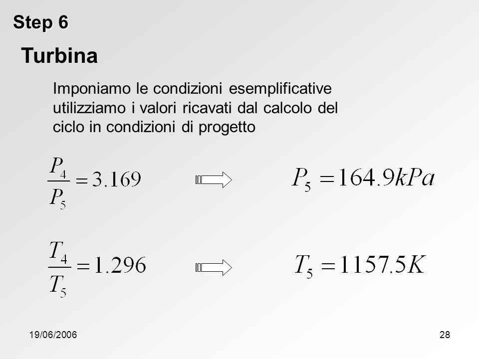 Step 6 Turbina. Imponiamo le condizioni esemplificative utilizziamo i valori ricavati dal calcolo del ciclo in condizioni di progetto.