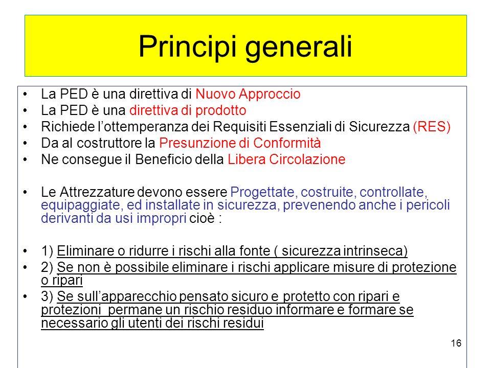 Principi generali La PED è una direttiva di Nuovo Approccio