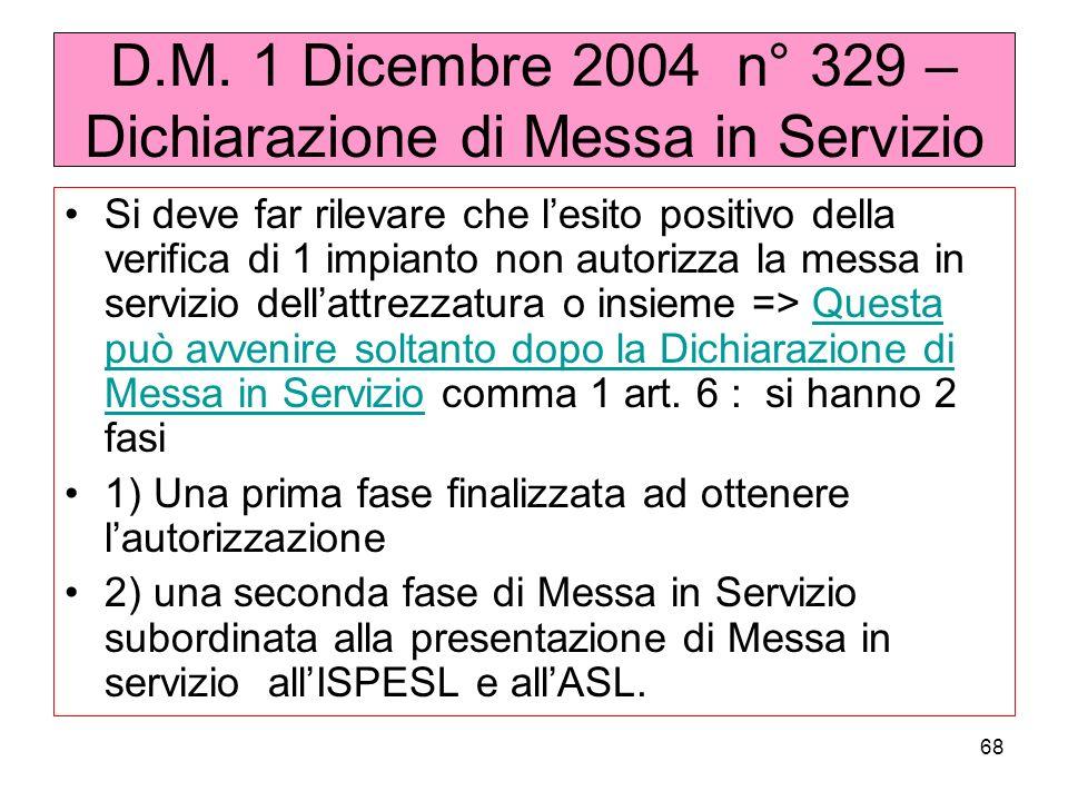 D.M. 1 Dicembre 2004 n° 329 – Dichiarazione di Messa in Servizio