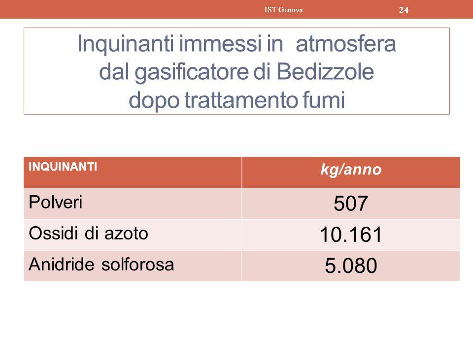 IST Genova Inquinanti immessi in atmosfera dal gasificatore di Bedizzole dopo trattamento fumi. INQUINANTI.