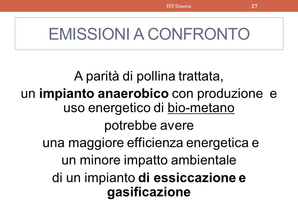 IST Genova EMISSIONI A CONFRONTO.