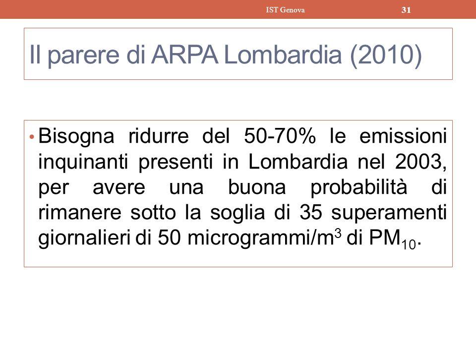Il parere di ARPA Lombardia (2010)