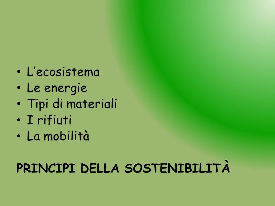 L'ecosistema Le energie Tipi di materiali I rifiuti La mobilità PRINCIPI DELLA SOSTENIBILITÀ