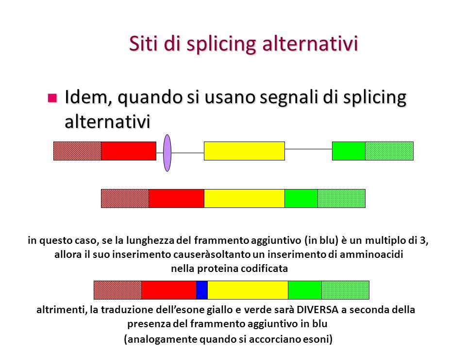 Siti di splicing alternativi