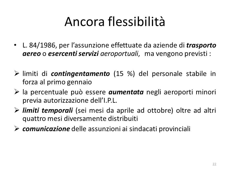 Ancora flessibilità L. 84/1986, per l'assunzione effettuate da aziende di trasporto aereo o esercenti servizi aeroportuali, ma vengono previsti :