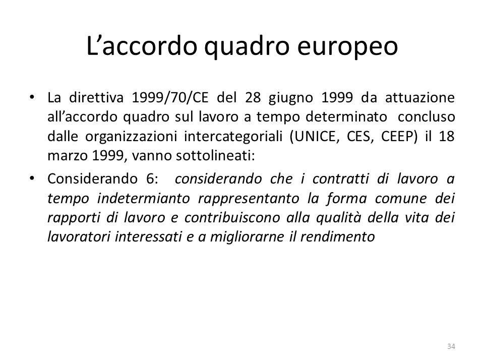 L'accordo quadro europeo