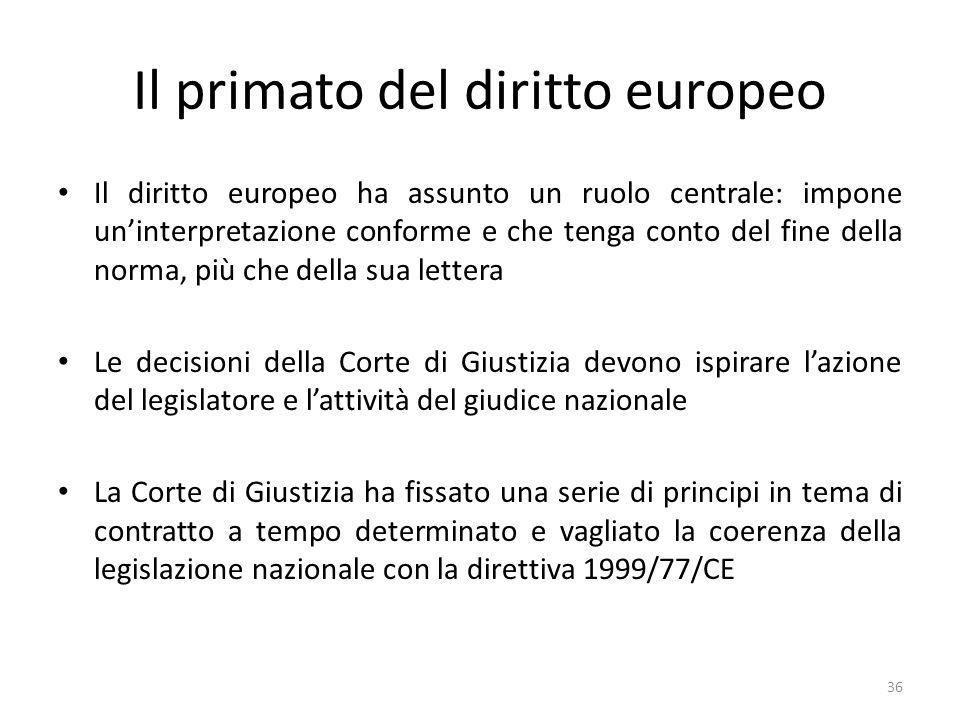 Il primato del diritto europeo