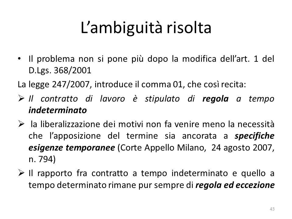 L'ambiguità risolta Il problema non si pone più dopo la modifica dell'art. 1 del D.Lgs. 368/2001.