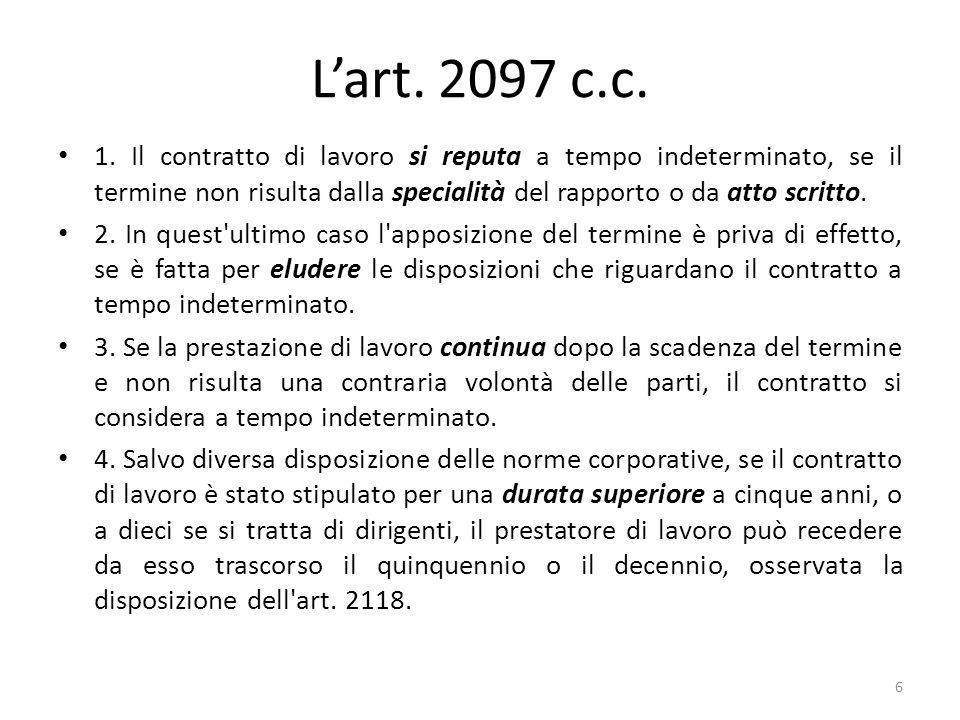 L'art. 2097 c.c.