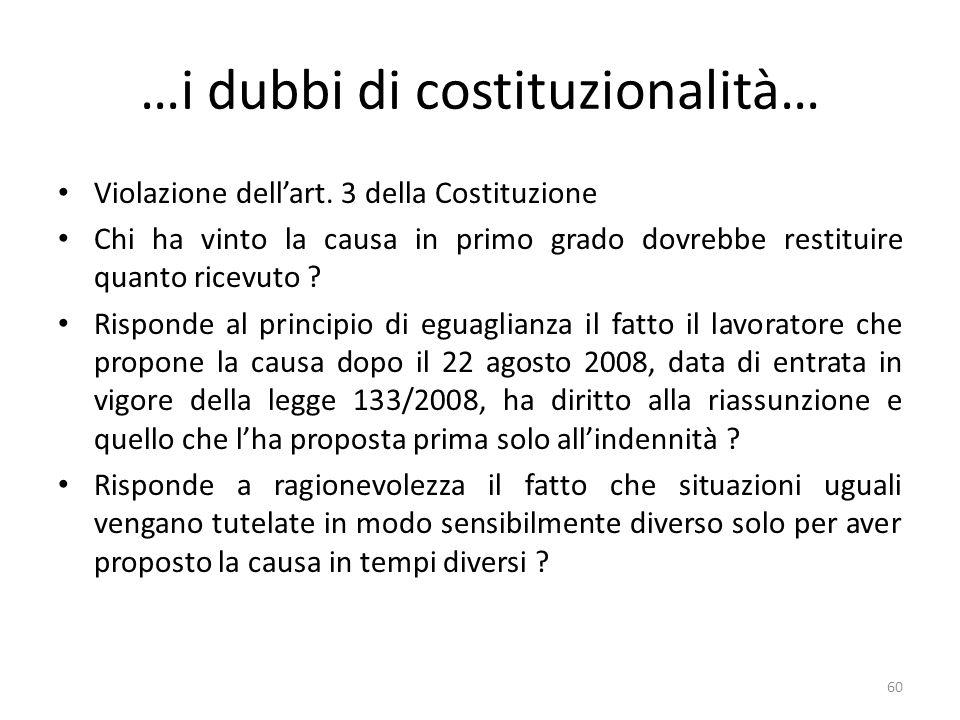 …i dubbi di costituzionalità…