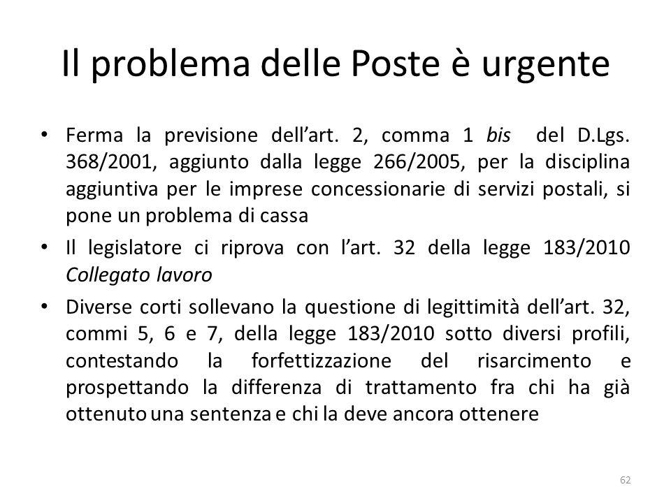 Il problema delle Poste è urgente