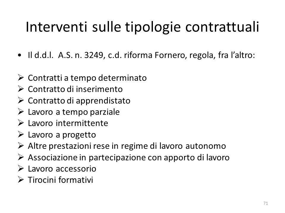 Interventi sulle tipologie contrattuali