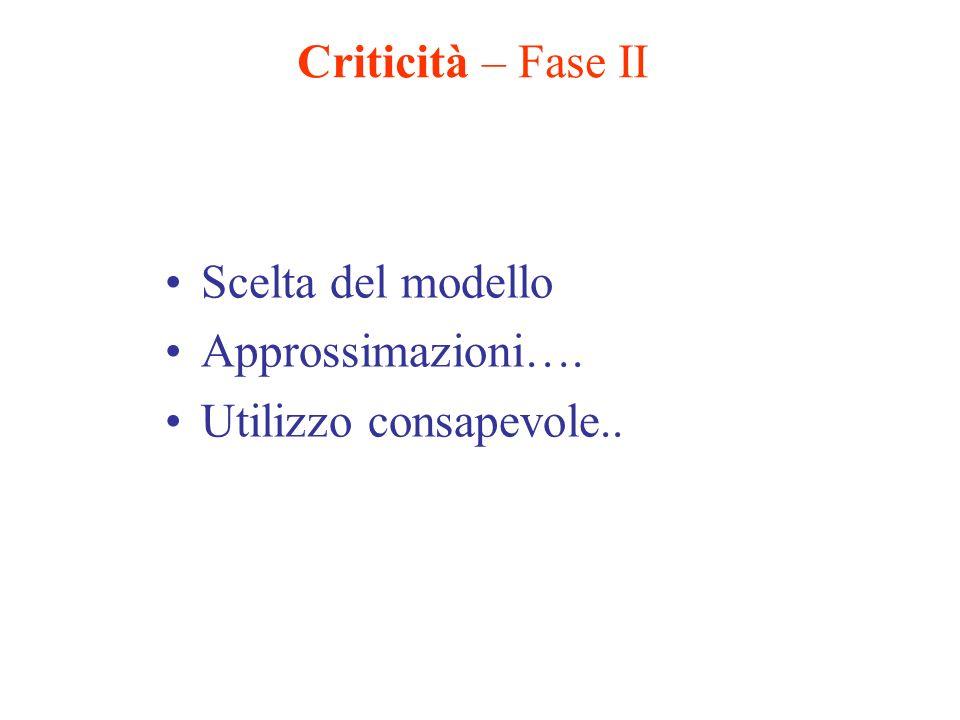 Criticità – Fase II Scelta del modello Approssimazioni…. Utilizzo consapevole..