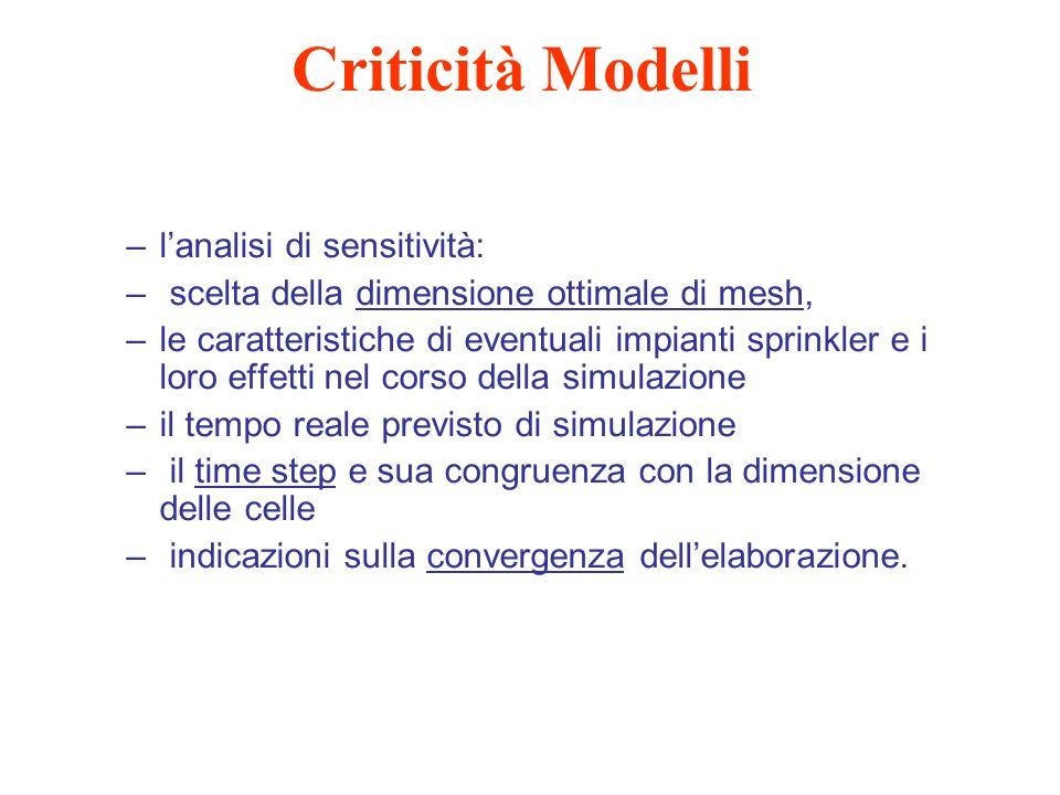 Criticità Modelli l'analisi di sensitività: