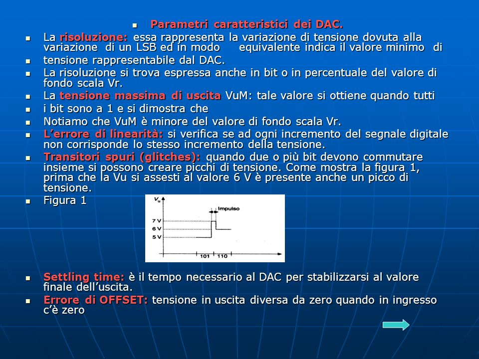 Parametri caratteristici dei DAC.