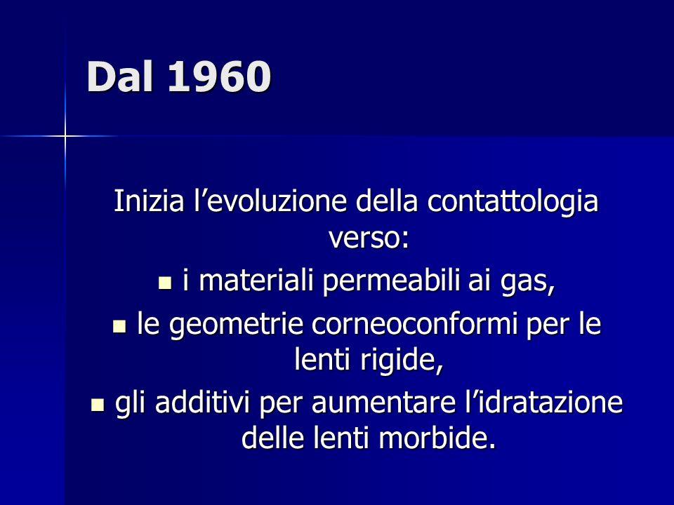 Dal 1960 Inizia l'evoluzione della contattologia verso: