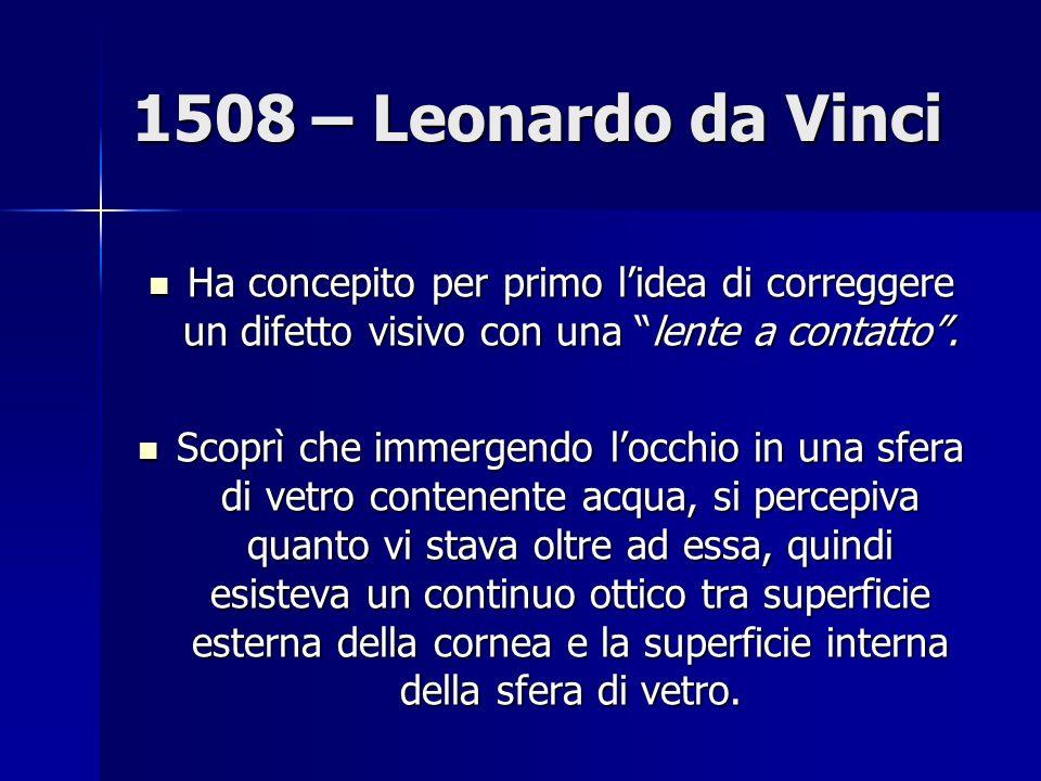1508 – Leonardo da Vinci Ha concepito per primo l'idea di correggere un difetto visivo con una lente a contatto .