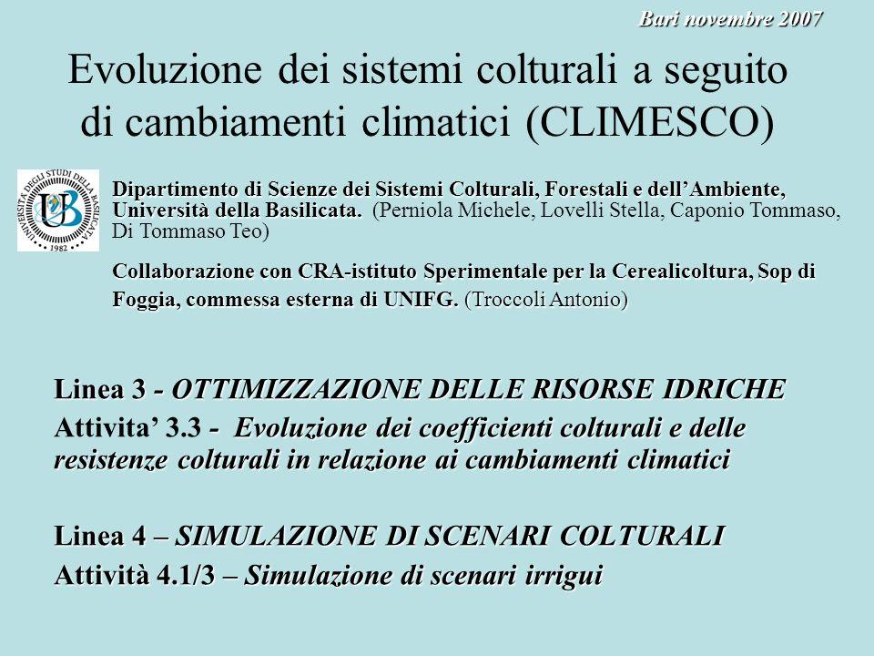 Bari novembre 2007 Evoluzione dei sistemi colturali a seguito di cambiamenti climatici (CLIMESCO)