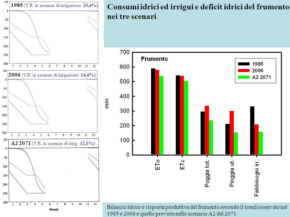 Consumi idrici ed irrigui e deficit idrici del frumento