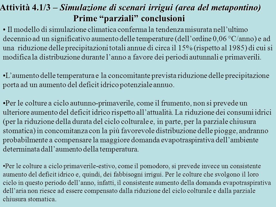 Attività 4.1/3 – Simulazione di scenari irrigui (area del metapontino)