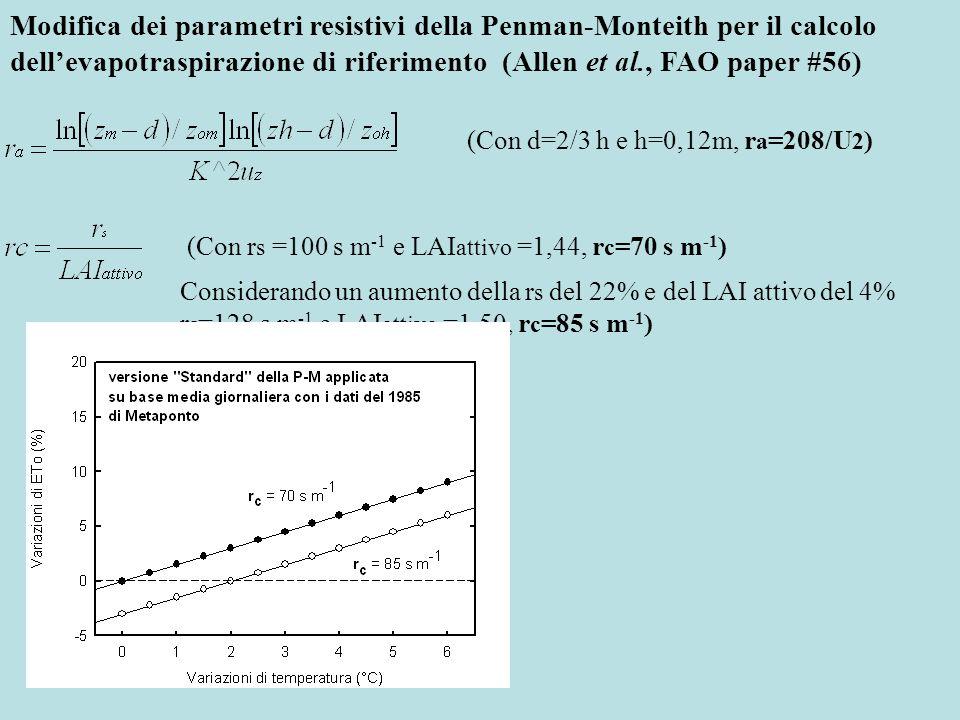 Modifica dei parametri resistivi della Penman-Monteith per il calcolo dell'evapotraspirazione di riferimento (Allen et al., FAO paper #56)