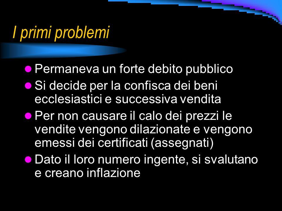 I primi problemi Permaneva un forte debito pubblico