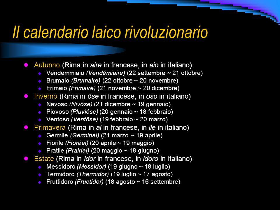 Il calendario laico rivoluzionario