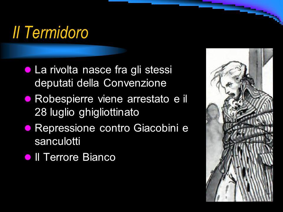 Il Termidoro La rivolta nasce fra gli stessi deputati della Convenzione. Robespierre viene arrestato e il 28 luglio ghigliottinato.